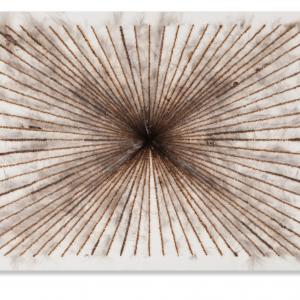 """Bas van der Wal, 2016  """"t.r.f. 5"""", pyrografie op doek, 96 x 72 cm"""
