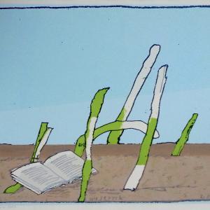 """Co Westerik """"Boek buiten,"""" zeefdruk 2008"""