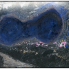 "Van Rijn & van Soest, 2019, ""Toverlantaarn landschap met blauwe vlek"", c-print van overtekende foto op Hahnemühle papier"